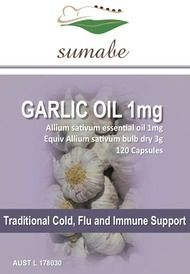 Sumabe Garlic Oil, 3,000mg Traditional Cold, Flu and Immune Support, 120 Softgel Capsules