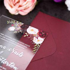 Burgundy Botanic Edge UV Print Acrylic Card ~ On Sale $4.37 Unique Wedding Stationery, Wedding Invitation Trends, Laser Cut Wedding Invitations, Invitation Design, Acrylic Invitations, Types Of Printing, Bat Mitzvah, Burgundy, Marriage