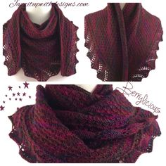 Elegant and light weight wool shawl in berry blend of autumn colors.  Hand knit in elegant and versatile crescent pattern could be a neck warmer, should scarf, wrap or shawl - #Handmade by @ntonelli