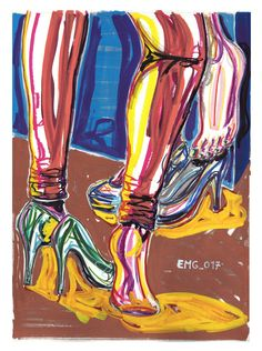 """chiacchiere"", marking pen and watercolor marking pen, 140lb/300gsm - 45,5x61cm paper, 2017 author: ernesto maria giuffre' #painting #pen #art #woman #feet #chat #heels #remove"