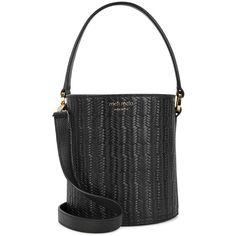 Meli Melo Santina mini leather bucket bag (£380) ❤ liked on Polyvore featuring bags, handbags, shoulder bags, mini handbags, woven leather purse, mini bucket bags, genuine leather handbags and drawstring purse