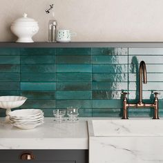 Buy Dwell Azul tiles from Porcelain Superstore. Visit our website for great deals on porcelain tiles all with 5 year guarantee. Kitchen Underfloor Heating, Boutique Bathroom, Silver Bathroom, Bathroom Wall, Blue Bathroom Tiles, Teal Tiles, Blue Green Bathrooms, Green Tiles, White Bathroom