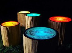 Glow in the dark paint on tree trunks.... chairs around the fire pit/campfire? AWESOME!