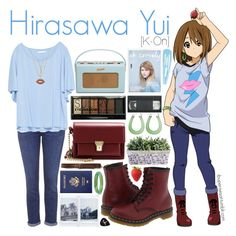 Hirasawa Yui [K-On!] by anggieputeri on Polyvore featuring Zara, Topshop, Dr. Martens, Yves Saint Laurent, Palm Beach Jewelry, Sydney Evan, Bling Jewelry, Abercrombie & Fitch, Boohoo and anime