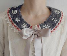 tinydotdot lace felt collar