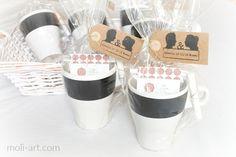 Diy tazas de pizarra/regalos para bodas de www.moli-art.com