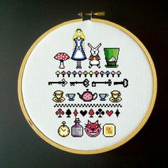 Alice in Wonderland Cross Stitch Sampler - PDF Pattern. $6.00, via Etsy.