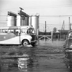 Pacific Stage Line's bus driving through a flooded street in New Westminster. Fraser Valley, Westminster, British Columbia, New Orleans, Vancouver, Nostalgia, Stage, Canada, Memories