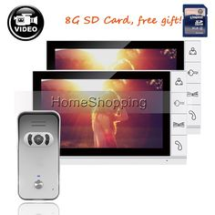 """227.98$  Buy here - http://alicfn.worldwells.pw/go.php?t=32675395745 - """"FREE SHIPPING New 9"""""""" Color Screen Recorder Video Door phone Intercom Kit + Waterproof Outdoor Camera + 2 White Monitors + 8G SD"""" 227.98$"""