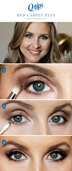 Get red-carpet worthy makeup at home with this tutorial from @ashleynicholas! 1. Smoke out the eyes by blending a combo of matte and shimmery eyeshadow. 2. Use a Q-tips Precision Tip to smudge a shimmery brown shadow along your lower lash line. 3. Finish the look with winged eyeliner and volumizing mascara.