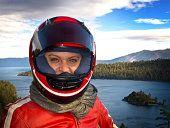 FEMALE MOTORCYCLIST IN LAKE TAHOE @ ANNE-MARIE WEBER