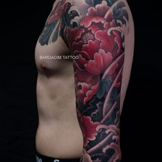 30 years of experience in Japanese Tattoo style of tattooing all over the world ッNOW based in NYCッ Japanese Peony Tattoo, Japanese Tattoo Meanings, Japanese Sleeve Tattoos, Chinese Tattoos, Japanese Flowers, Half Sleeve Tattoos Designs, Tattoo Designs, Half Sleeve Tattoo Template, Irezumi Tattoos