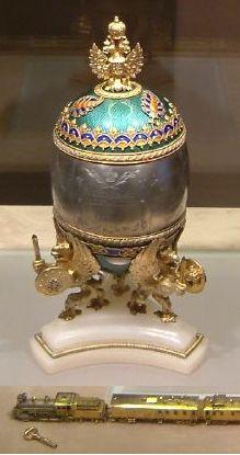 L' Œuf au transsibérien réalisé par Fabergé en 1900 pour Nicolas II.