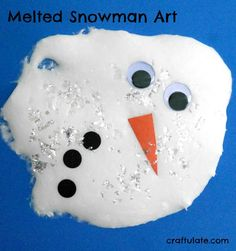 This melted snowman art is easy to prepare and fun to make with the kids this winter!