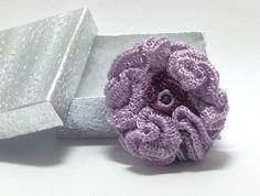 Light purple crochet hair clip with amethyst by AGDesignCreatif
