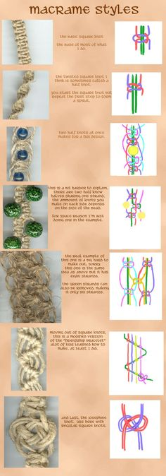 Tipos de nós do macramé: Square knot / Twisted square knot / Two half-knots / Josephine knot /other knots