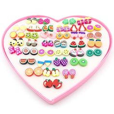 bf3c880db Elesa Miracle Kids Little Girl 36 Pairs Hypoallergenic Fimo Stud Earrings  Value Set | Beautiful Cool Jewelry