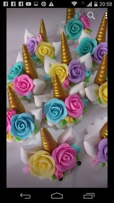 Unicorn Birthday Parties, Unicorn Party, Birthday Party Decorations, Fondant Cupcake Toppers, Cupcake Cakes, Polymer Clay Embroidery, Ballerina Cakes, Unicorn Cupcakes, Fondant Decorations