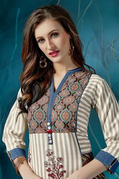 Picture of Catchy white & grey designer long kurti