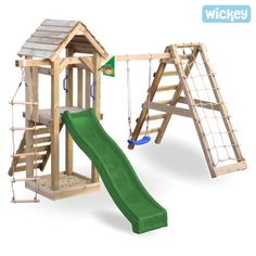 wooden garden Climbing frame WICKEY Little Pirate Backyard Swing Sets, Kids Backyard Playground, Backyard Playset, Backyard For Kids, Backyard Projects, Wooden Climbing Frame, Climbing Frames, Outdoor Play Structures, Kids Room Design