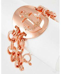 408219 Rose Gold Tone / Lt.peach Rhinestone / Lead&nickel Compliant / Metal / Toggle Closure / Multi Row Anchor Bracelet