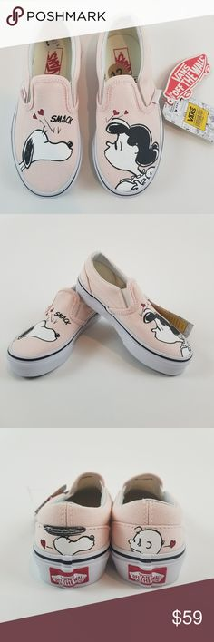 Vans Peanuts - Classic Slip On Kids Shoes Snoopy Vans x Peanuts - Classic Slip On Kids Shoes Snoopy Lucy - Smack / Pearl Size 12 Vans Shoes Sneakers