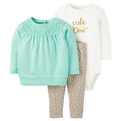 Baby Girls' 3 Piece Animal Print Set Mint/Animal Print - Just One You™Made by Carter's®