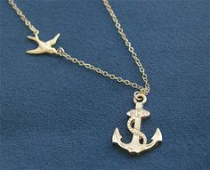 Anchor Necklace with Swallow in Gold  Sailor by FiveThirty on Etsy, $22.00