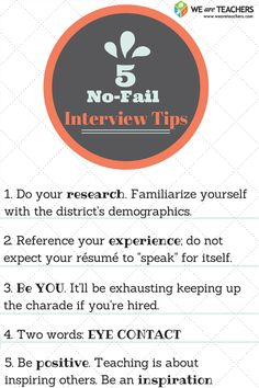 Interview tips and one teacher's story of how to get that first job.