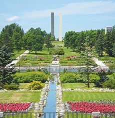 The tallest elements of the International Peace Garden form the Peace Tower in North Dakota.