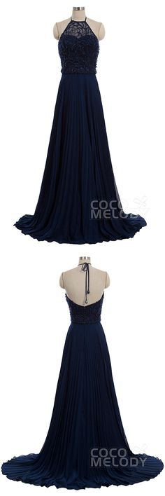 Glamour Sheath-Column Halter Natural Train Chiffon Dark Navy Sleeveless Zipper Evening Dress with Beading COVT15001 #occasiondresses #cocomelody #cusotmdresses  #sleevelessdresses