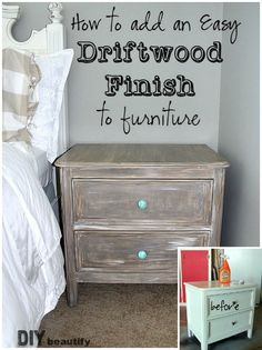 Get the simple tutorial for this Painted Driftwood Finish at DIY beautify!