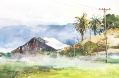 Watercolor Paintings by Leslie Wilson Watercolor Barns, Watercolor Landscape, Watercolor Paintings, Water Colors, Western Art, Landscapes, Inspiration, Paisajes, Biblical Inspiration