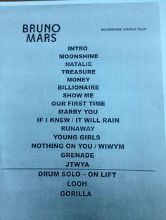 Set list for Bruno Mars Moonshine Jungle Tour 2013.  One of the best concerts I've ever seen.