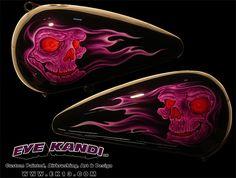 Purple Skulls Custom Painted Harley Davidson Motorcycle