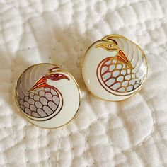 Signed Vintage Laurel Burch 'mynah bird' earrings Signed Vintage Laurel Burch 'mynah bird' earrings! Gorgeous! One of the backing is missing the plastic piece- no biggie, works fine, or you can use another set.  nd to downsize my collection! Vintage Jewelry Earrings