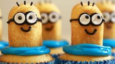 cute Despicable me minion cupcakes. Fun and easy to make for the perfect birthday party!
