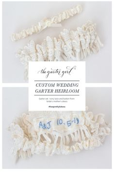 f782fe0da4760b Custom wedding garter made from mother s wedding dress with embroidered  personalization on the inside - handmade