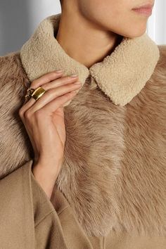 #Topshop Unique Shearling-paneled wool-blend #cape #coat