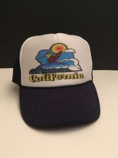 2e1319f0 Vtg-Multicolor-California-Surfer-Board-Ocean-Wave-Trucker-Snapback-Hat -Nissun