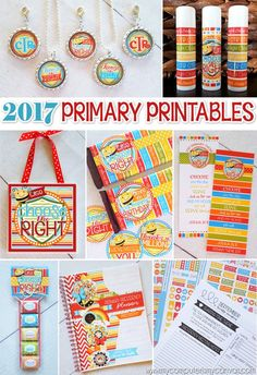2017 Primary Printables - CTR Choose the Right, printable gift ideas, bookmarks, lip balm labels, candy bar wrappers, nugget wrappers, tile art, presidency planners, activity days planner, music leader chorister planner and more - such a great collection!! #mycomputerismycanvas
