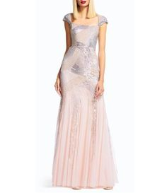 Adrianna Papell Petite A-line Cap Sleeve Beaded Envelope Back Gown #Dillards