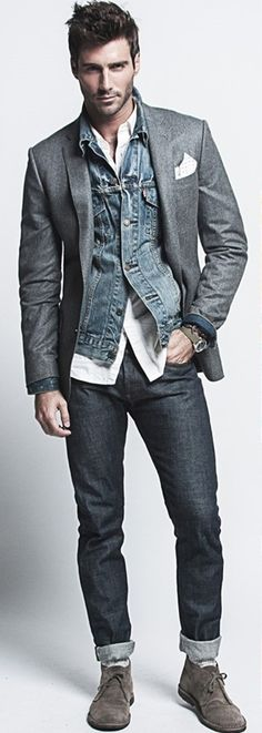 love this look. I like how the jacket and the shirt hanging out breaks up the denim on denim… keeps it fresh