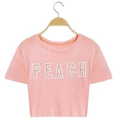 Short Sleeves Peach Letter O-neck T-shirts (€12) ❤ liked on Polyvore featuring tops, t-shirts, sexy summer tops, summer tees, summer tops, pink tee and holiday tees