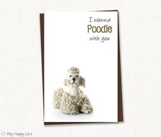"Love card - Printable - 4""X6"" Digital file - Instant download - (Poodle) - dog lover card, relationship card, for him, for her"