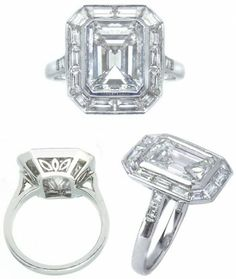 I LOVE THE SETTING EMERALD SURROUNDED BY BAGUETTE DIAMONDS 4.66ct Emerald Cut Diamond Ring  $62000    Product Description:  Impressive emerald cut diamond ring set in platinum. Center diamond is 4.66ct, J color, VS clarity. It is surrounded by a bezel of perfectly matched baguette cut diamonds and has three square cut diamonds on each side of the shank. Total weight of smaller diamonds is approximately 2.21ct. ★★★★★
