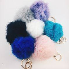 Puff Keychains - Pink, Grey, Black i use to have thesebl but chema and julia always rip them: