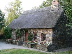 Stone House Revival can find Stone cottages and more on our website. Stone Exterior Houses, Old Stone Houses, Cottage Exterior, Stone Cottages, Cabins And Cottages, Stone Cottage Homes, Cotswold Cottages, Stone Homes, Cottages And Bungalows