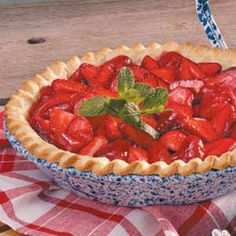 Strawberry Pie from Taste of Home.  I've always had great results from Taste of Home.  This recipe looks basic and quick.  My son will love it.