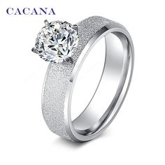 CACANA 스테인레스 스틸 반지 조각 CZ 다이아몬드 패션 보석 도매 NO. R12